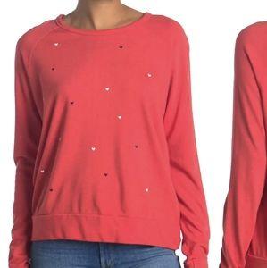 Sundry heart raglan crew pullover light sweatshirt